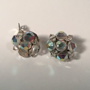 Iridescent Vintage Clip Earring w/ Silver Backing